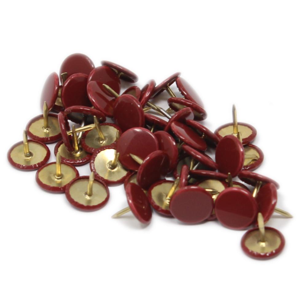 50 Heftzwecken in Bordeaux Rot