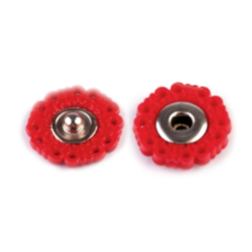 10 Paar Druckknöpfe 19mm Blumendesign in Rot