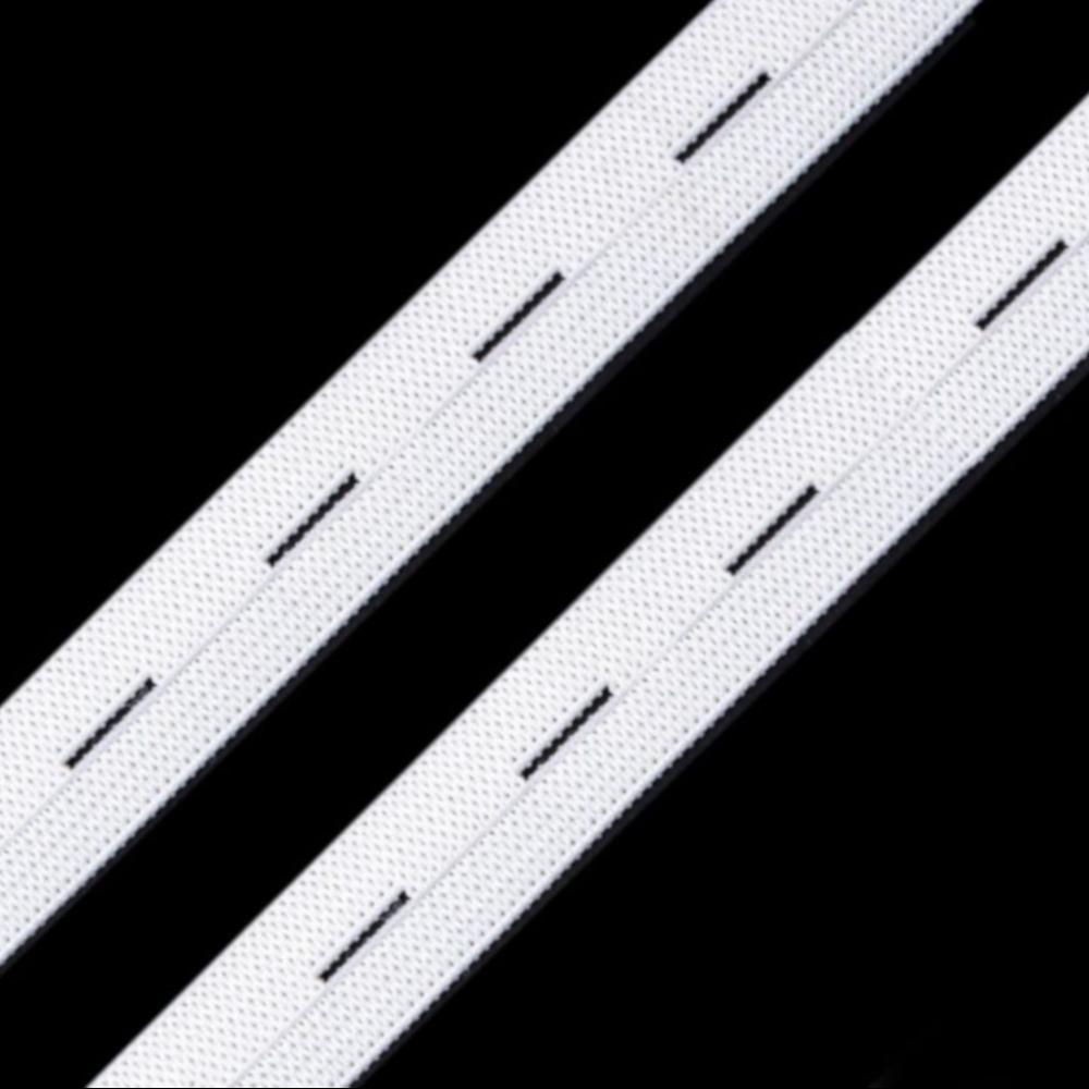 Lochgummiband mit einer Breite von 15 mm in der Farbe Weiß