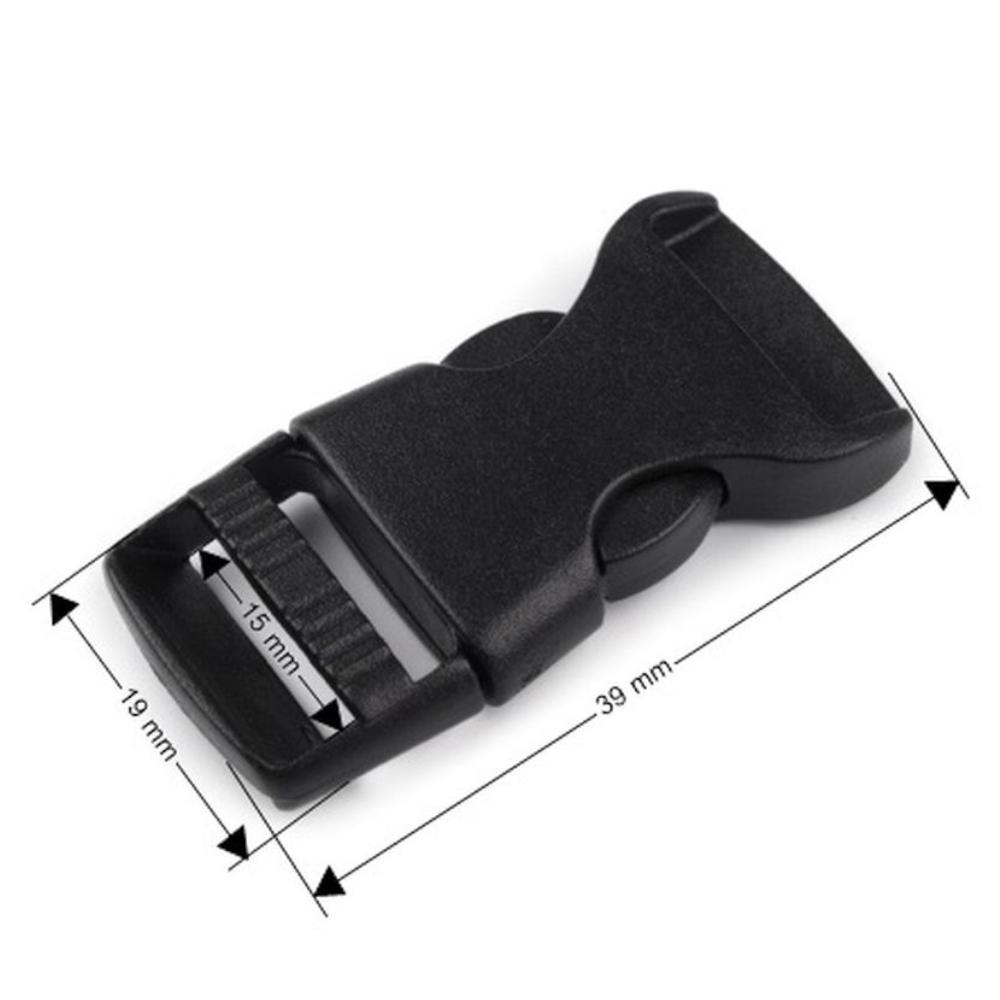 2x Steckschnallen - 15mm Durchzug - Schwarz