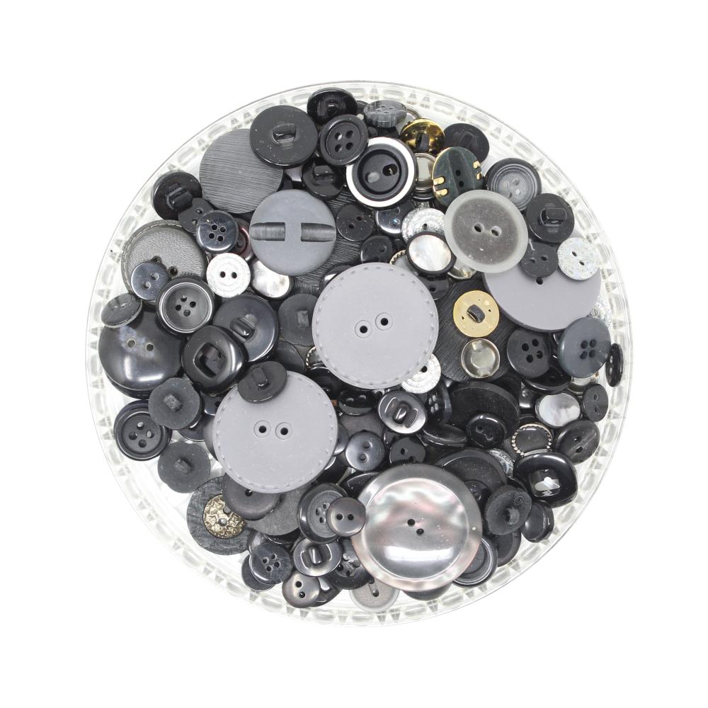 150g Aufnäh-Knopfmischung in schwarzer Farbe