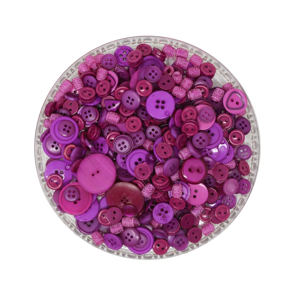 150g Aufnäh-Knopfmischung in fuchsia Farbe