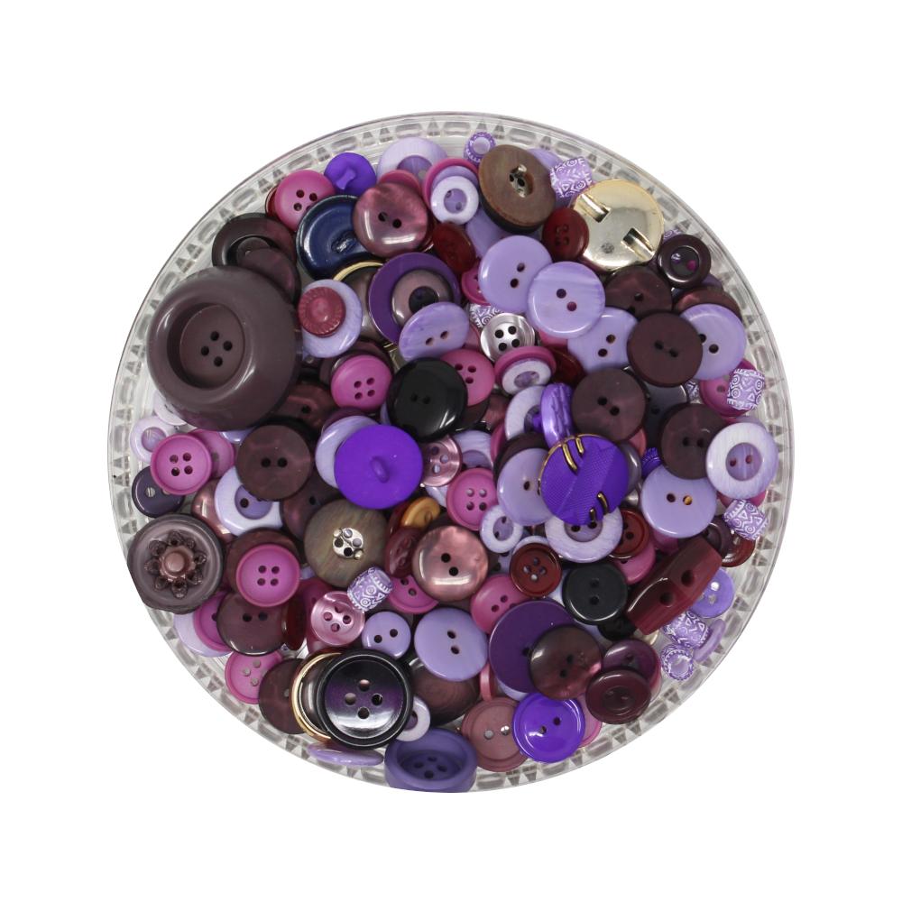 150g Aufnäh-Knopfmischung in lila Farbe