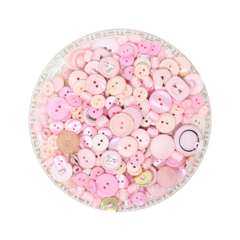 150g Aufnäh-Knopfmischung in roser Farbe