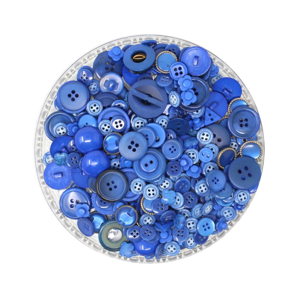 150g Aufnäh-Knopfmischung in blauer Farbe