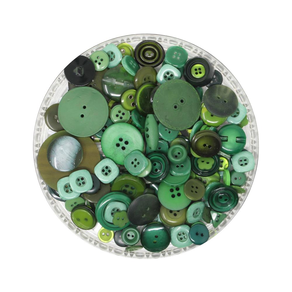 150g Aufnäh-Knopfmischung in grüner Farbe