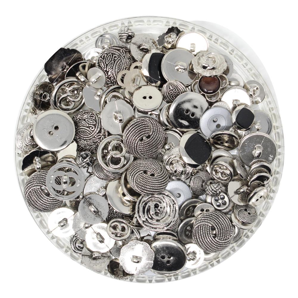 150g Aufnäh-Knopfmischung in silberner Farbe