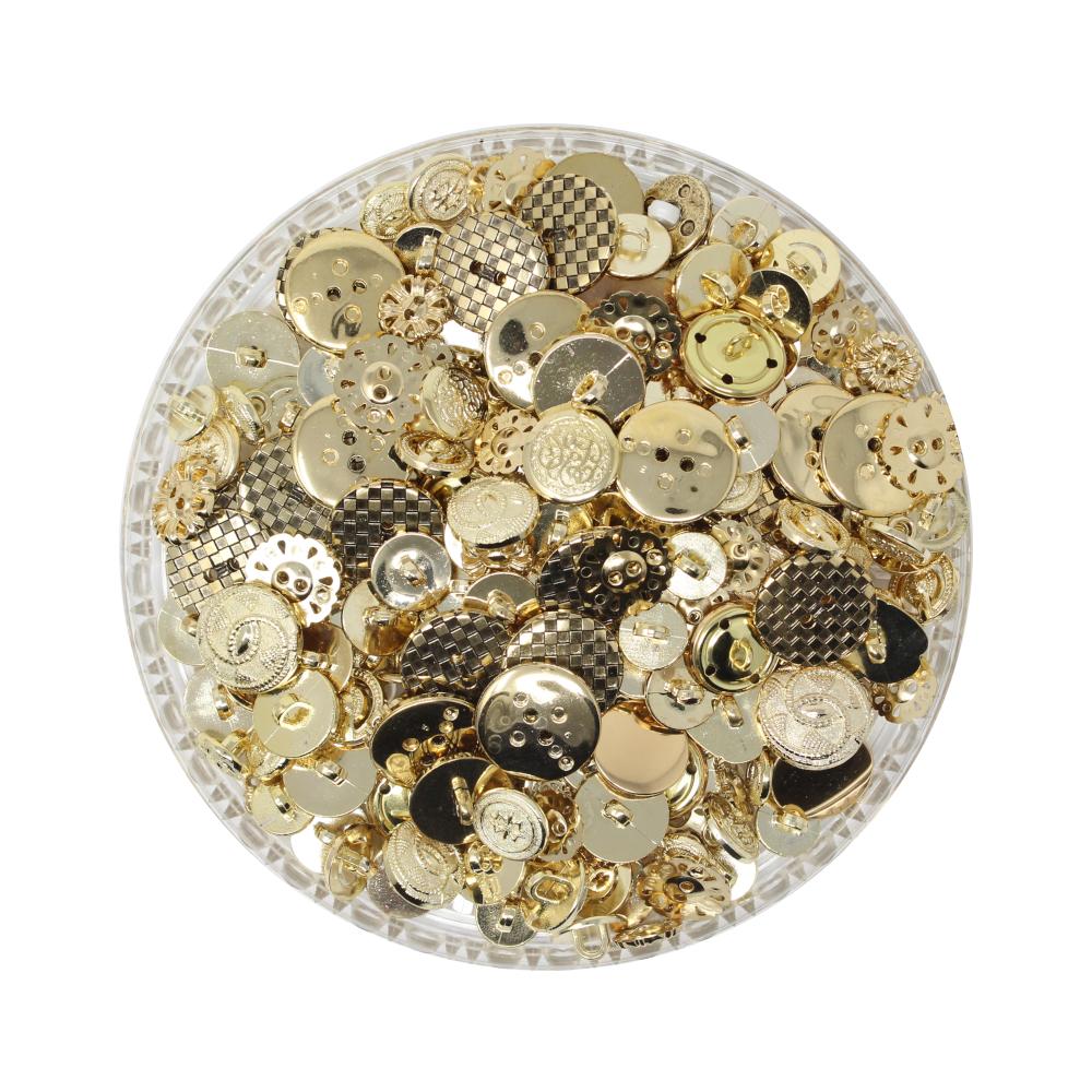 150g Aufnäh-Knopfmischung in goldener Farbe