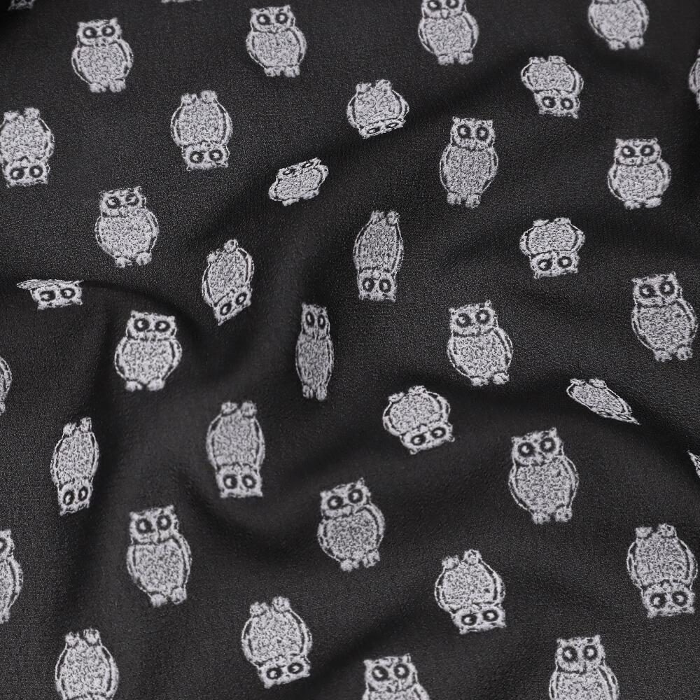 1m | Crepé mit Eulen-Motiv 150cm breit - schwarz/wollweiss (6299)
