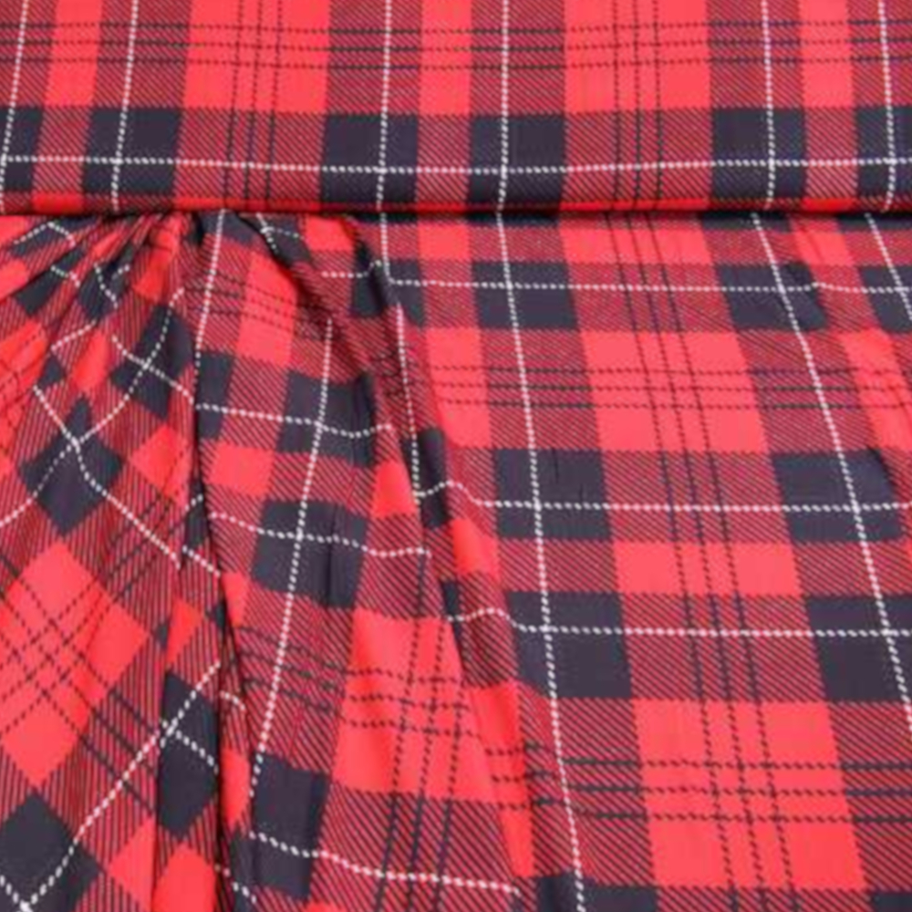 1m | Blusen- und Kleiderstoff - 150cm breit - rot/schwarz/weiss (6177)