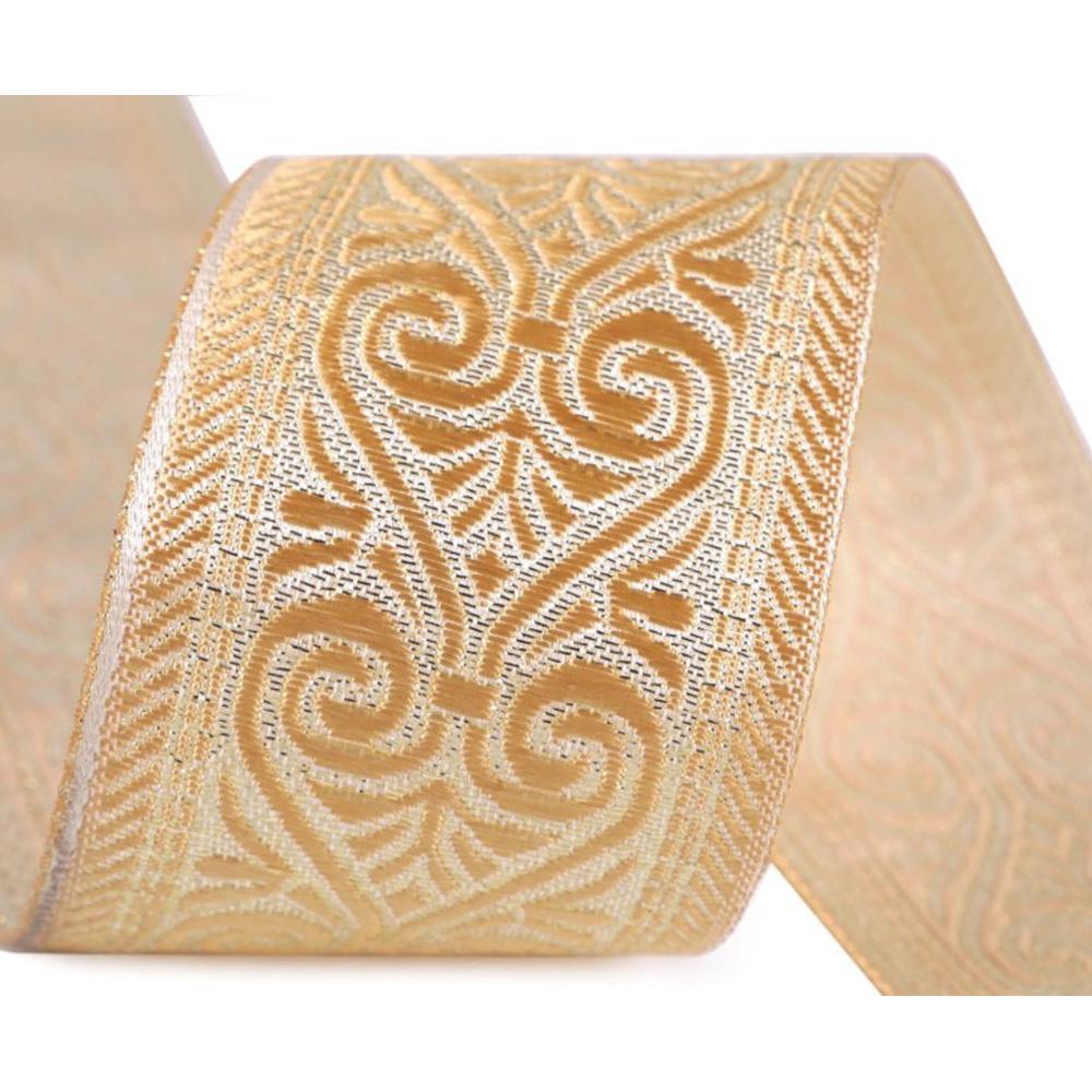 Borte gemustert - 50mm Breite - mit Lurex - Beige-Gold