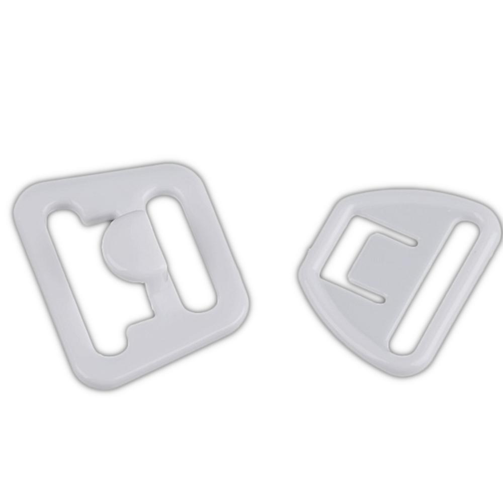 2x Paar Kunststoffverschlüsse für Still-BHs - 14mm Breite - in Weiß