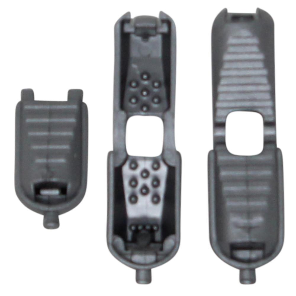 10 Kordelendstücke mit Click-System - 17x8,7 mm in Grau