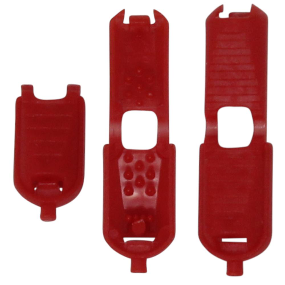 10 Kordelendstücke mit Click-System - 17x8,7 mm in Rot