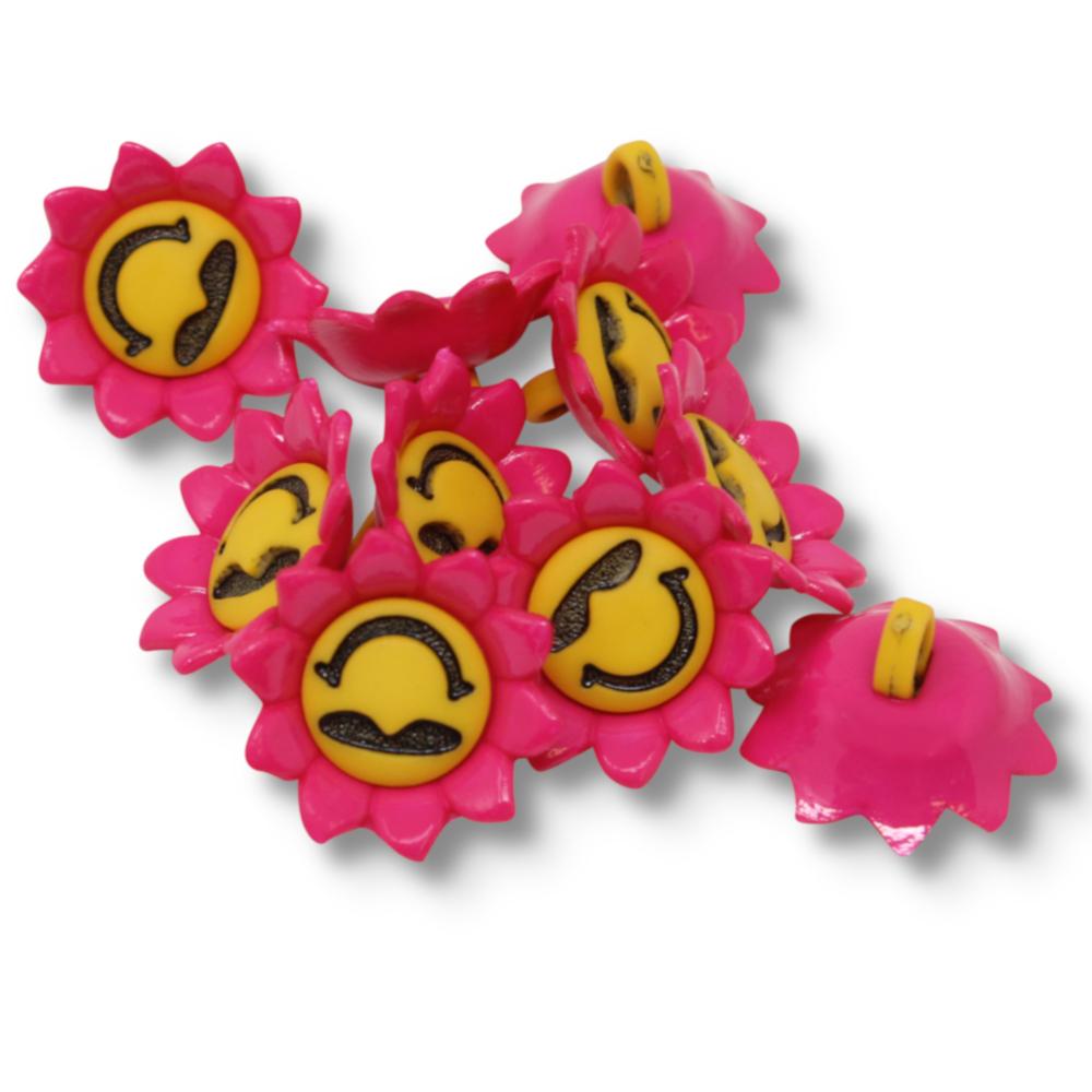 10 Ösenknöpfe aus Kunststoff Blume mit Smiley 18x18mm in Pink/Gelb