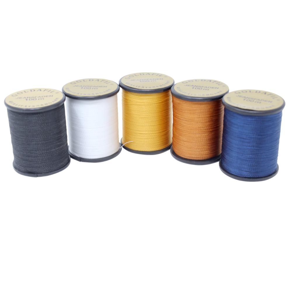 5x 100 Meter Jeansnähgarn - 210D/2 - 100% Nylon Farbe: 5 Farben Set