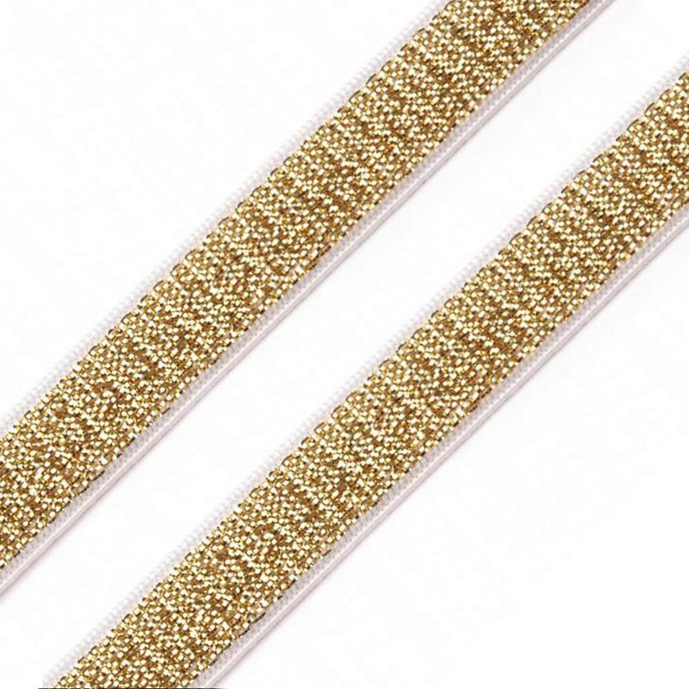 BH-Träger Gummiband mit Lurex 10 mm in goldfarben