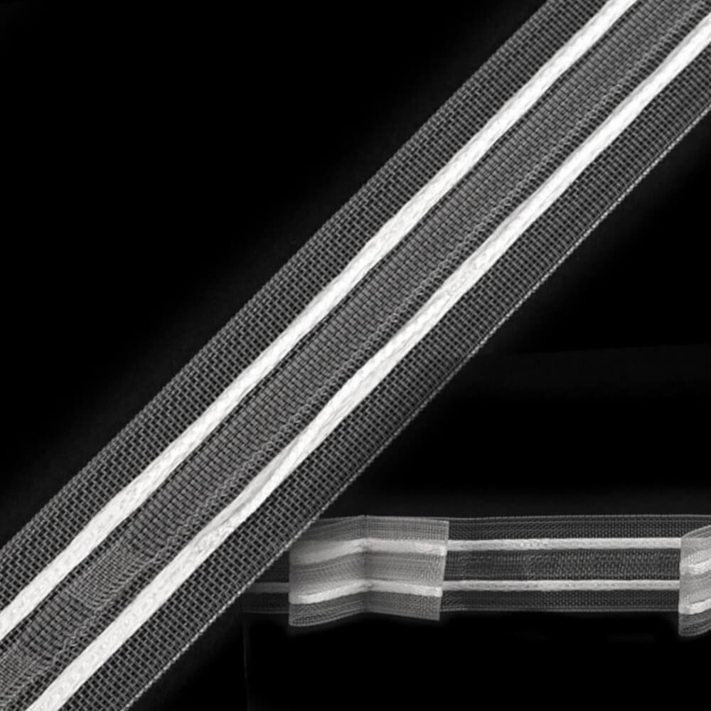 Gardinenband 25 mm - 1:2 Faltung - transparent