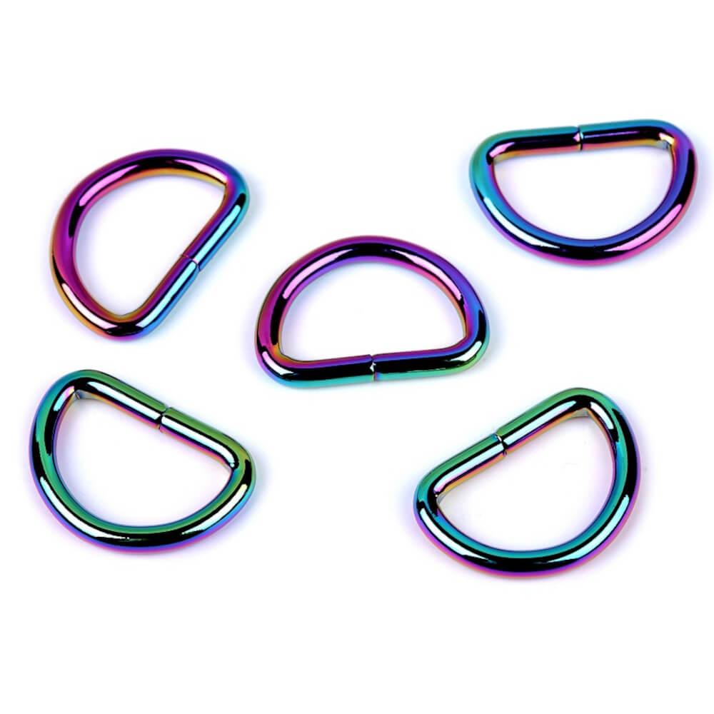 5 D-Halbringe aus Metall in Regenbogenfarben für 15 od. 25 mm Bandbreite
