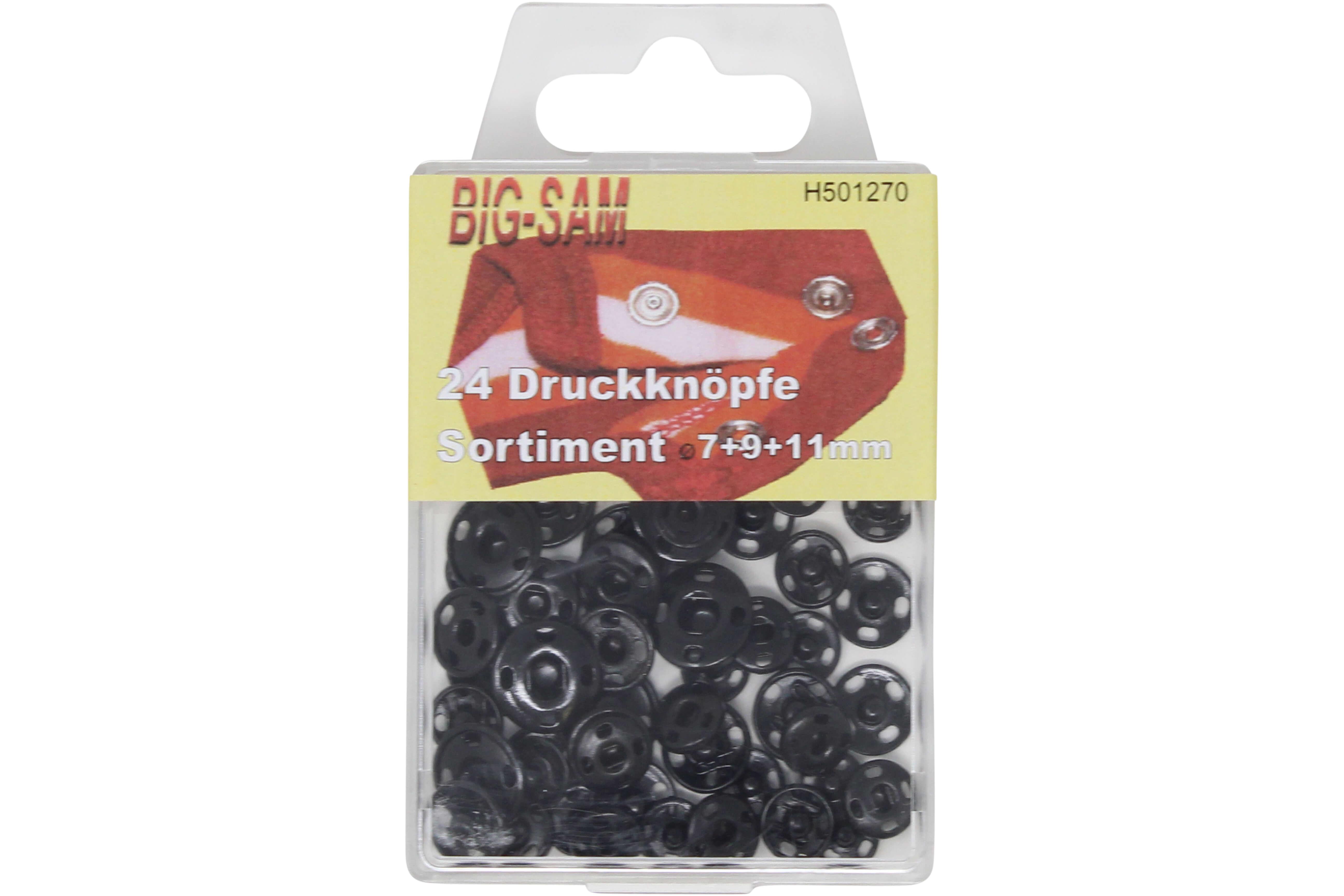 24 Druckknöpfe Sortiment - 7, 9 und 11 mm - aus Messing in Schwarz