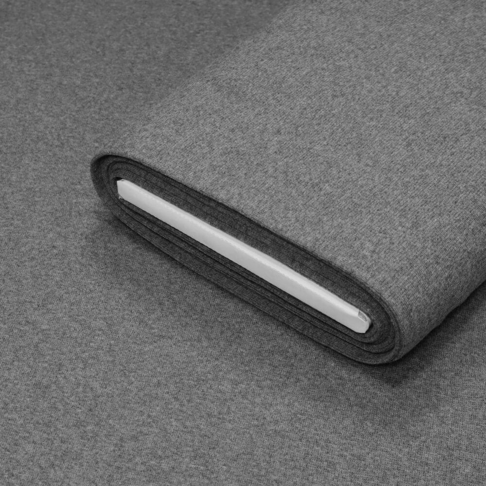 0,5m   Bündchenstoff 100 cm Breite - JERSEY- Farbe: Melange - grau (12603)