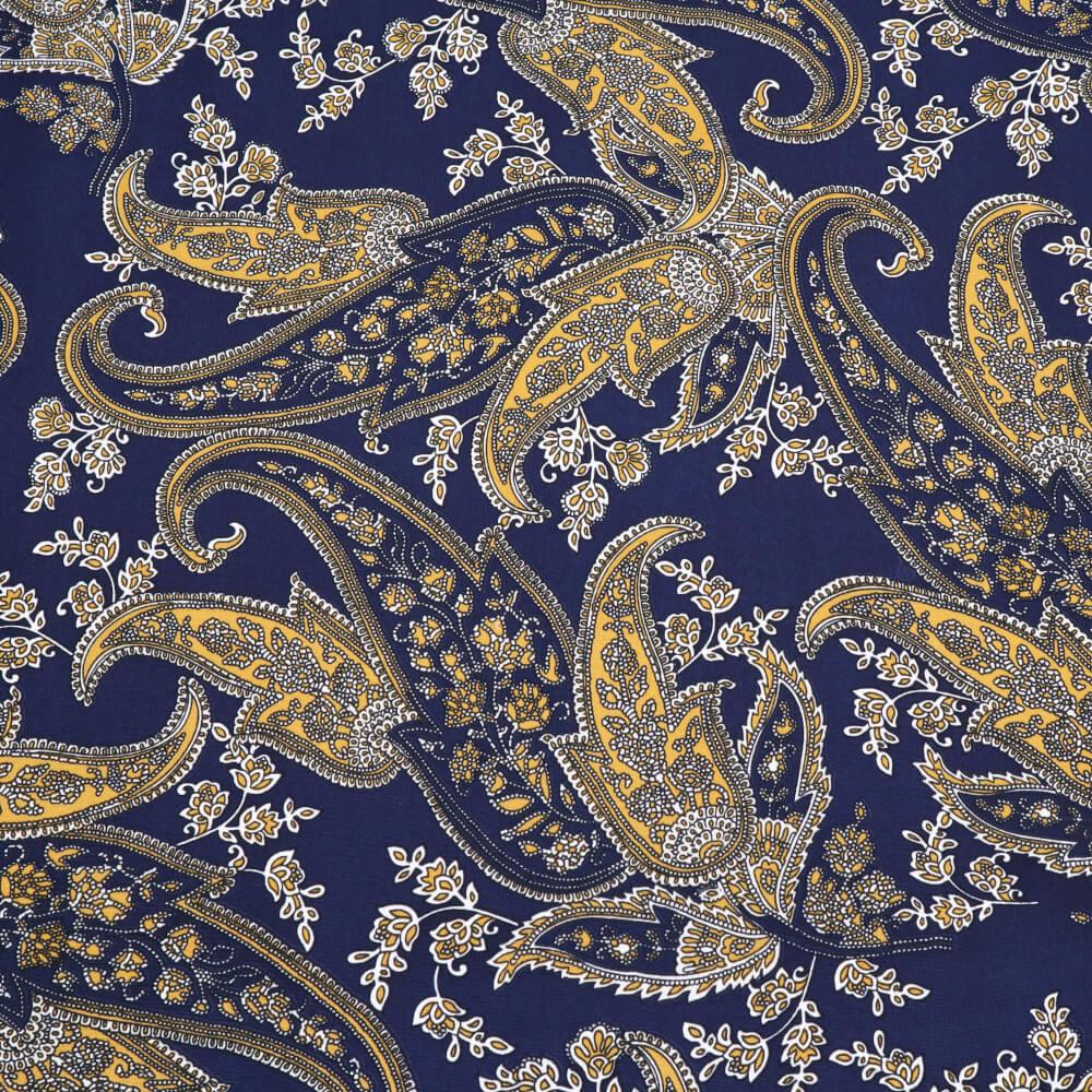 1 m | Blusen- und Kleiderstoff Paisley - nachtblau mit Ornamenten (12198)