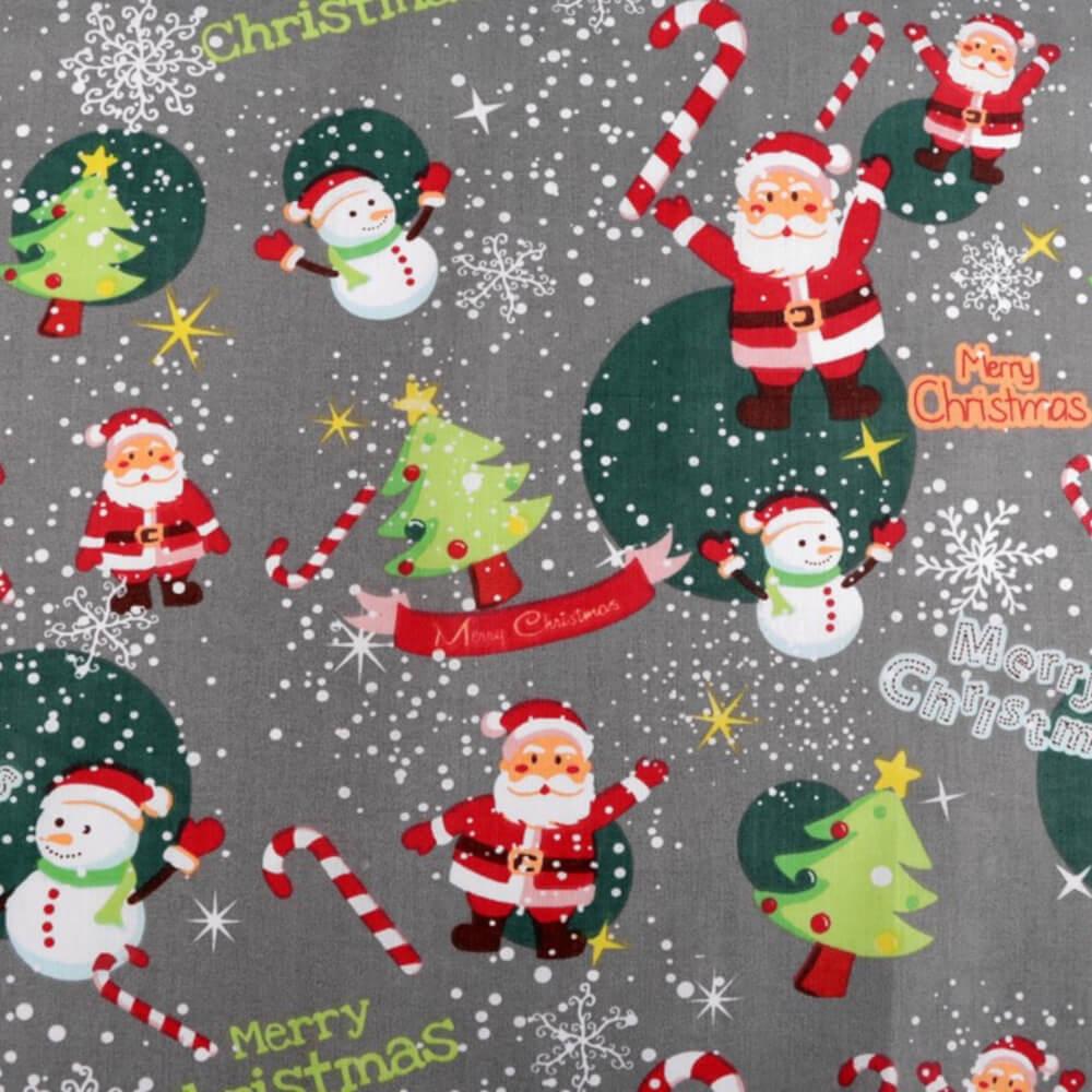 1m   Baumwollstoff 160 cm breit - Weihnachten - Grau (86051051)