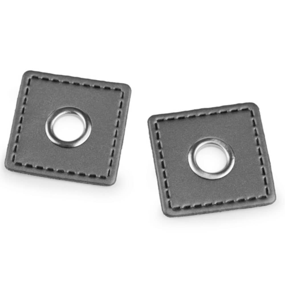 2x 8 mm silberfarbene Ösen Patches auf 30x30 mm Kunstleder - Grau (3)
