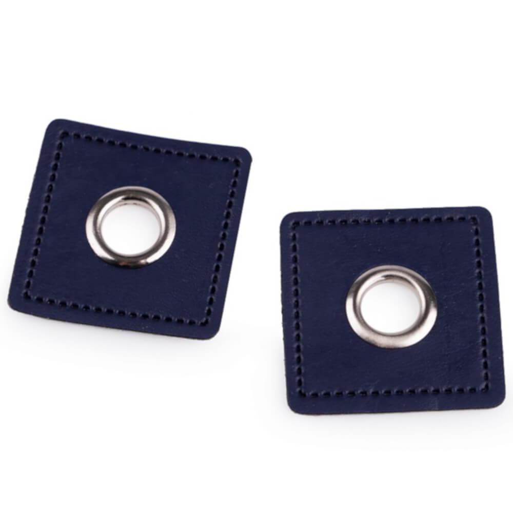 2x 8 mm silberfarbene Ösen Patches auf 30x30 mm Kunstleder - Dunkelblau (12)