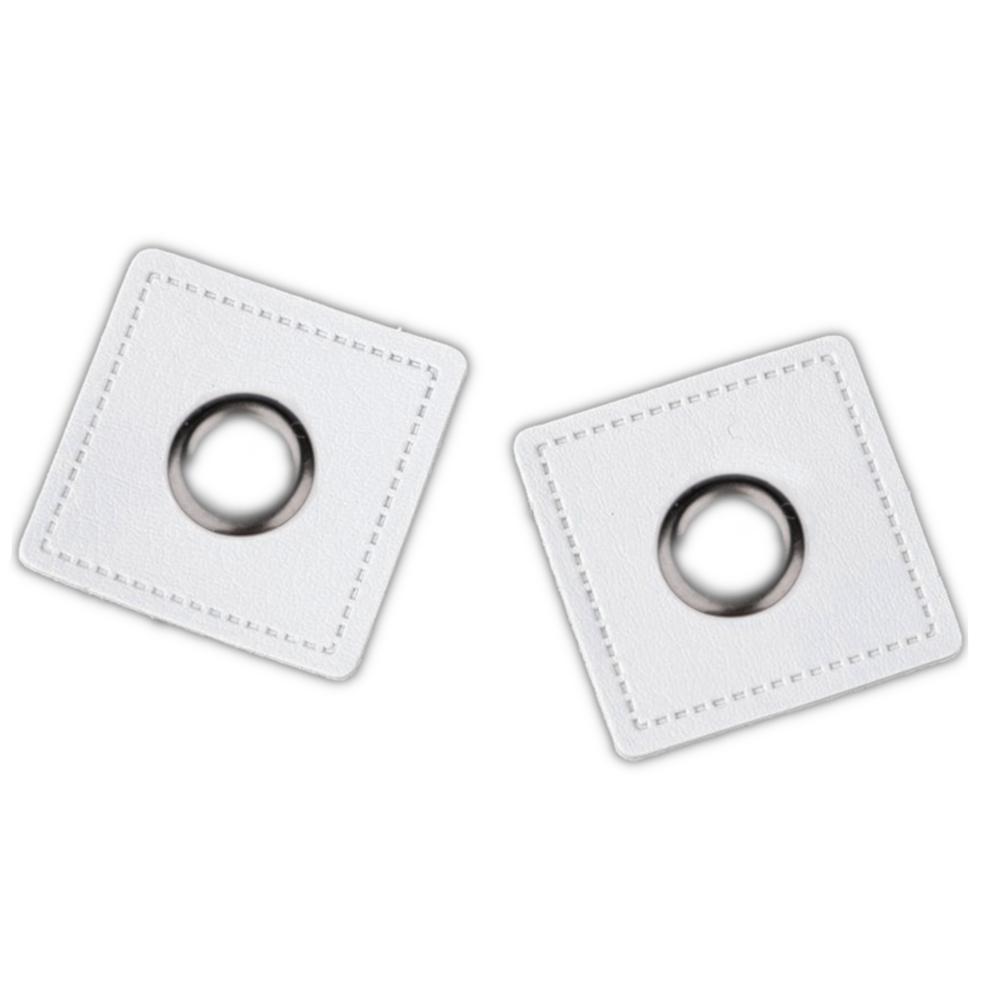 2x 8 mm nickel-schwarze Ösen Patches auf 30x30 mm Kunstleder - Weiß (11)