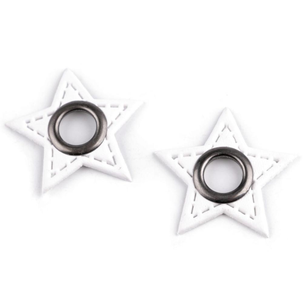 2x 8 mm nickel-schwarze Ösen Patches auf 30 mm Durchmesser Kunstleder in Stern-Form - Weiss