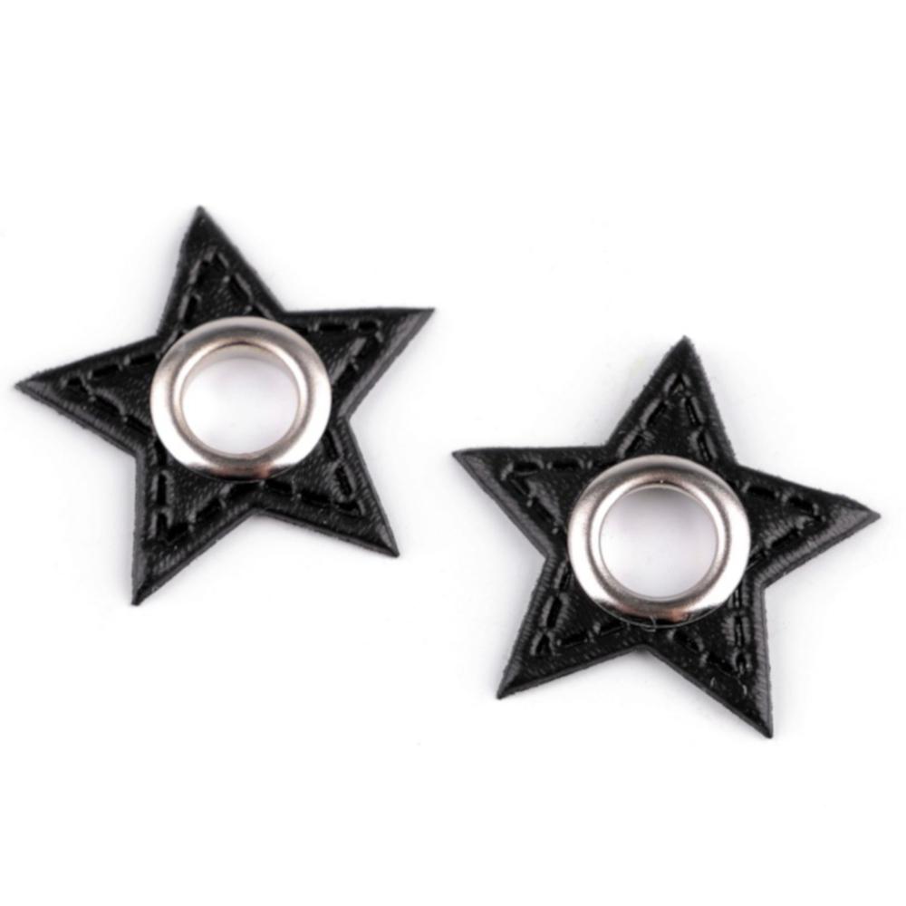 2x 8 mm nickel-schwarze Ösen Patches auf 30 mm Durchmesser Kunstleder in Stern-Form - Schwarz