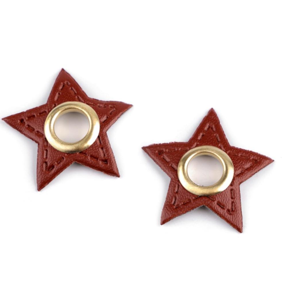2x 8 mm nickel-schwarze Ösen Patches auf 30 mm Durchmesser Kunstleder in Stern-Form - Cognac-Braun