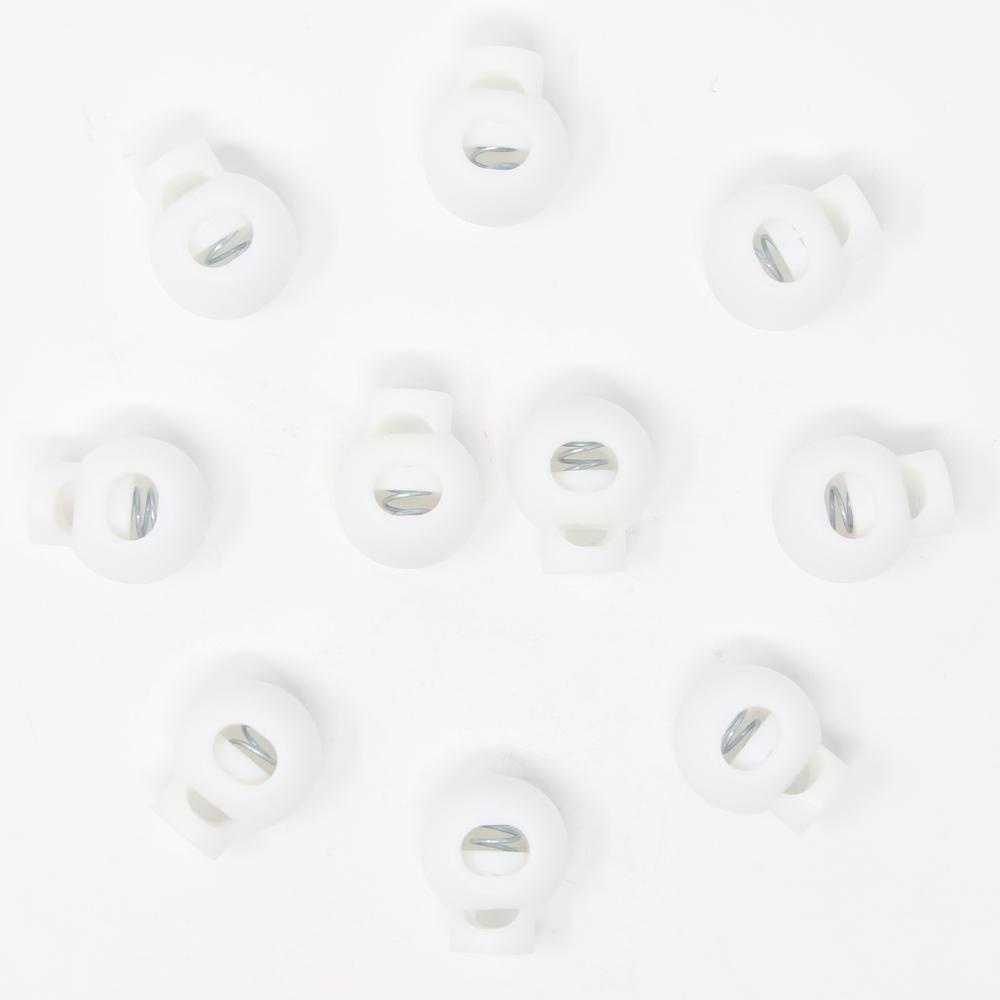 10x 1-Loch Kugel Kordelstopper - 20mm - XL - Weiß