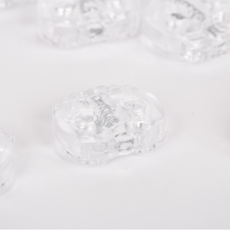 10 Stück - 2-Loch Kordelstopper - 15x15 - Transparent