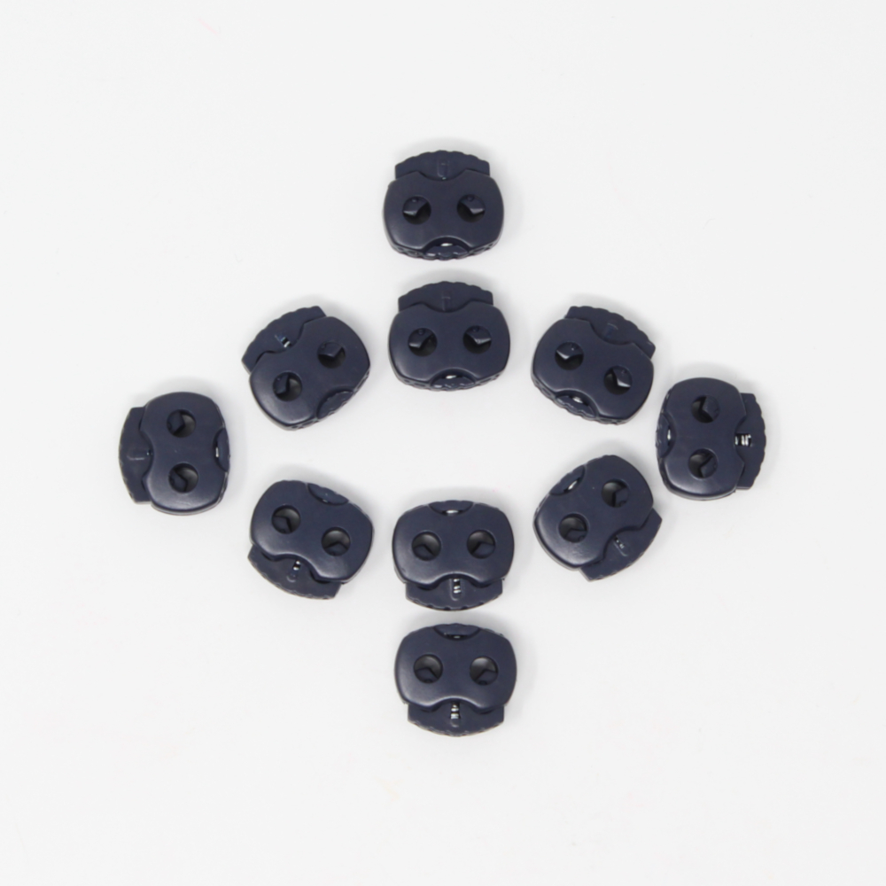 10 Stück - 2-Loch Kordelstopper - 15x15 - Dunkelblau