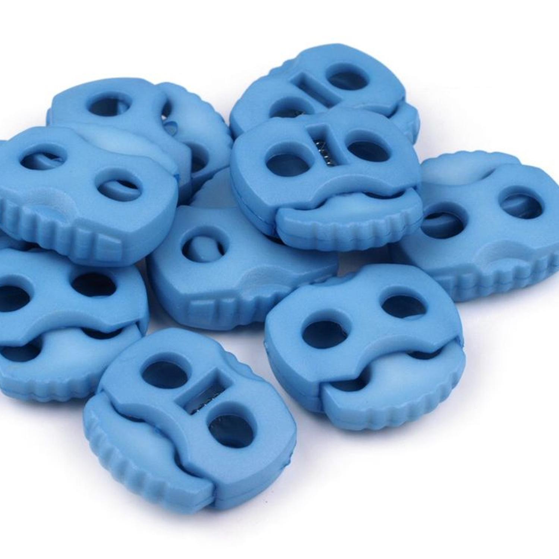 10 Stück - 2-Loch Kordelstopper - 20x20 - Blau