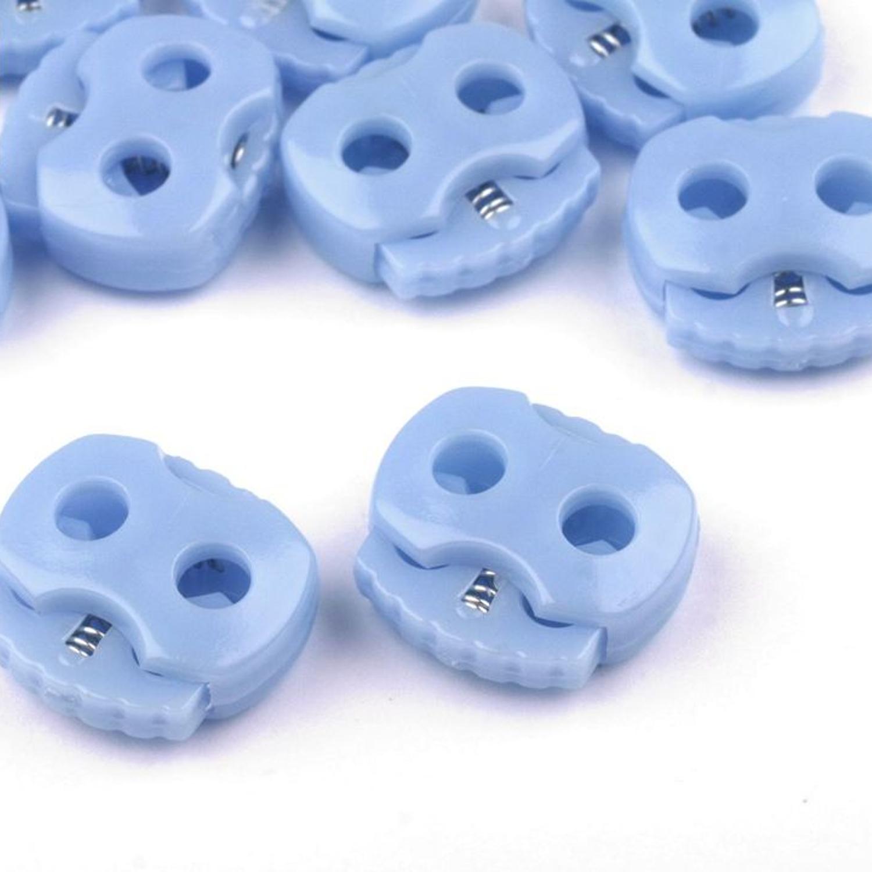 10 Stück - 2-Loch Kordelstopper - 15x15 - Hellblau