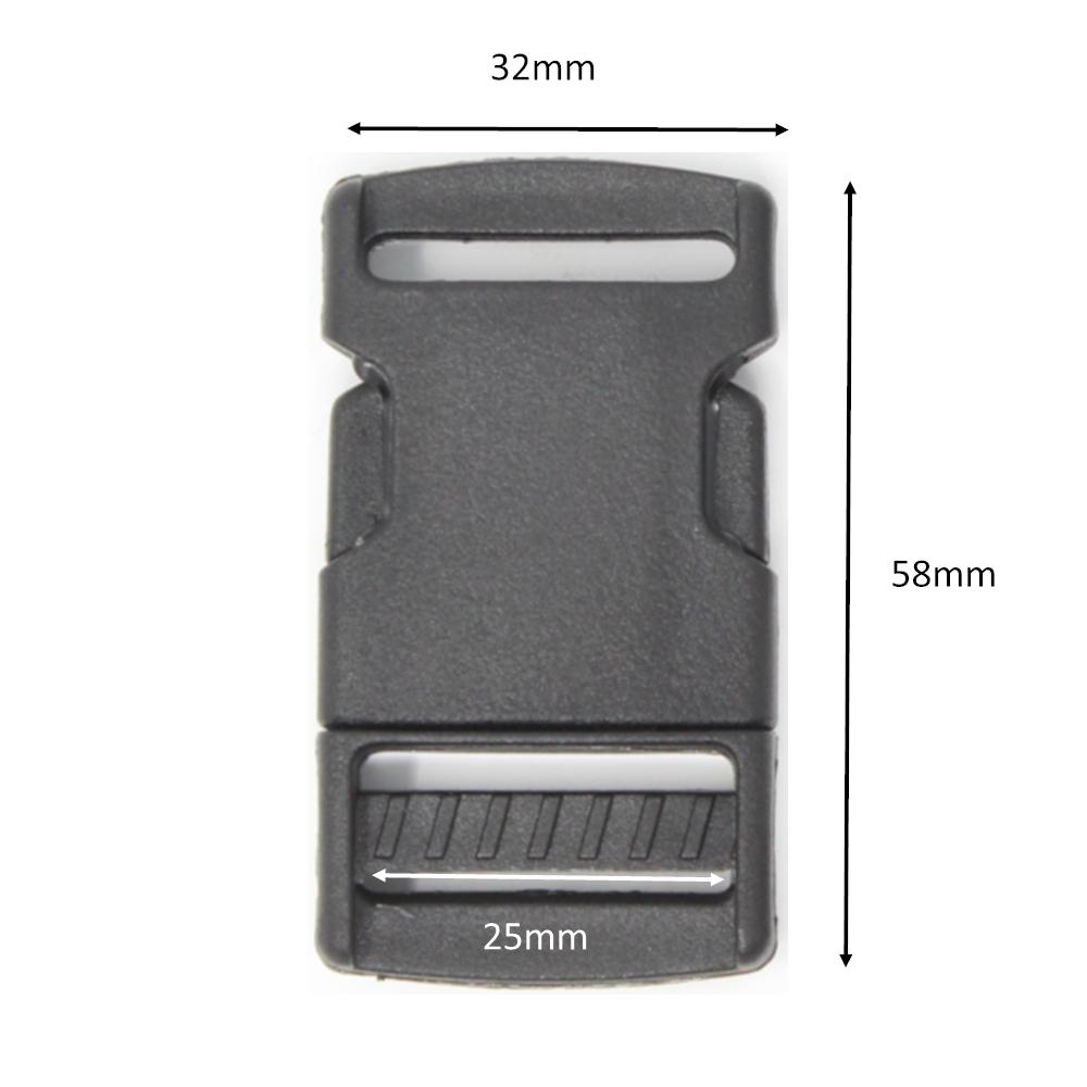 2x Steckschnalle - 25mm - Schwarz