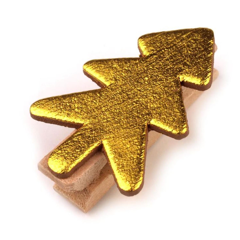 10 Wäscheklammern - Bäumchen - 35mm - Gold
