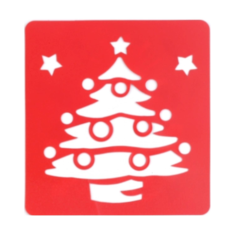 Malschablone Kunststoff - 14 x 15 cm - Weihnachtsbaum