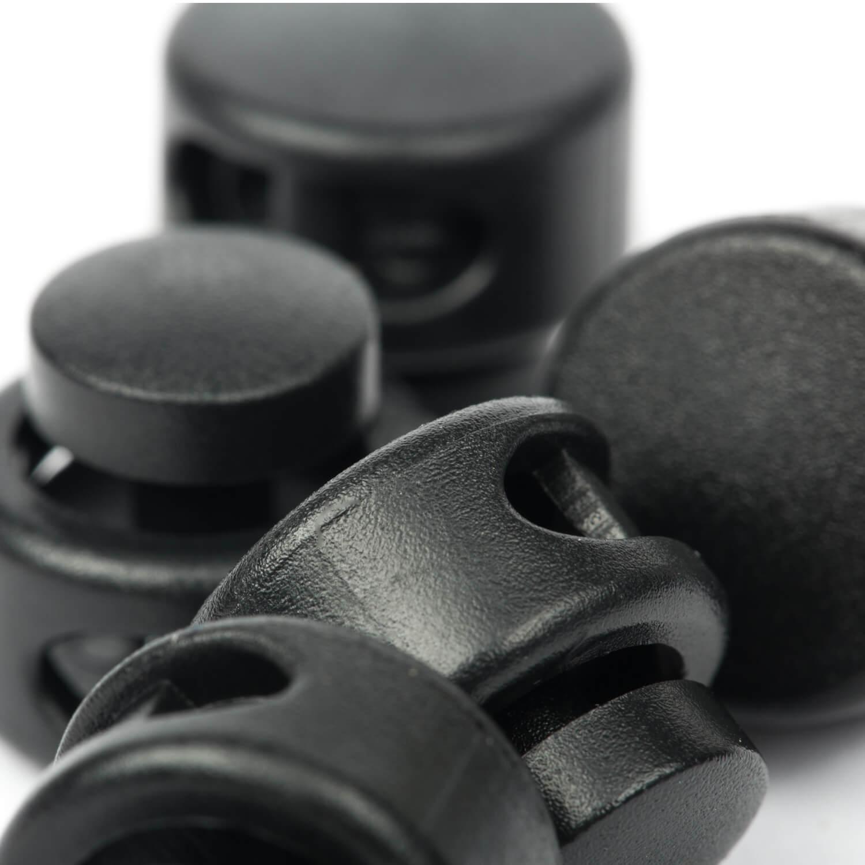 5 Kordelstopper mit 2 Löcher 13 x 15mm - RUND - Schwarz