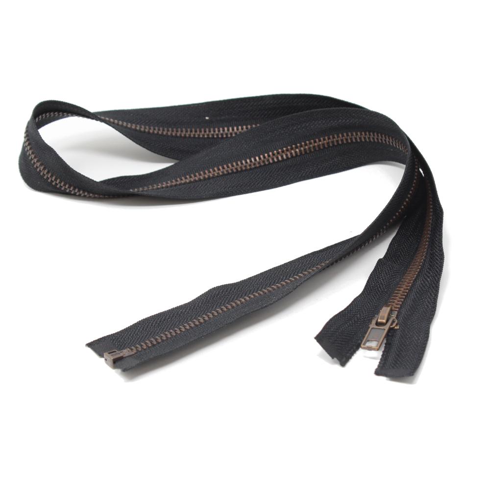 75cm teilbarer Metall-Reißverschluss aus Altkupfer in Schwarz