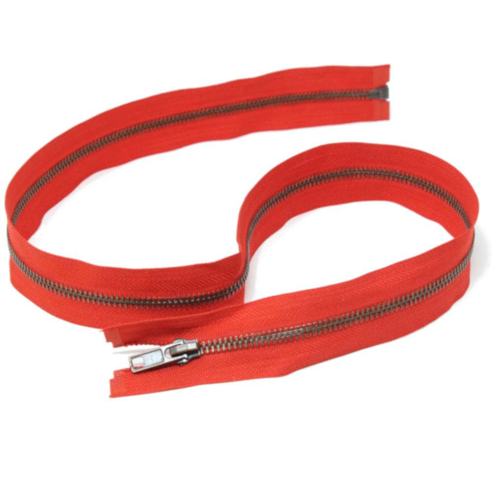 75cm teilbarer Metall-Reißverschluss aus Altkupfer in Rot