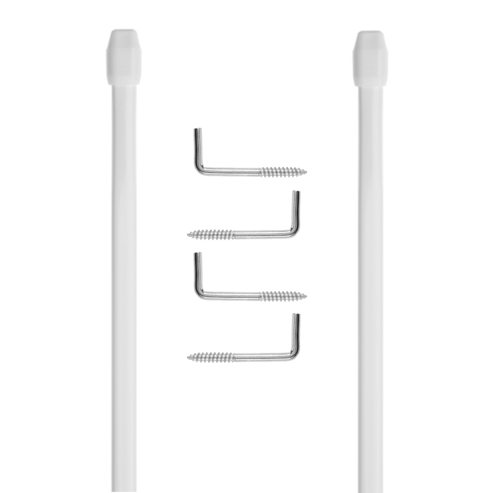 2 Stück Bistro Vitragestangen 40 - 60 cm in Weiß mit Schraubhaken