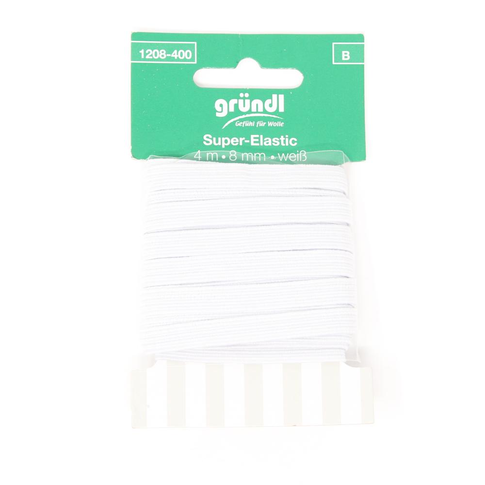 GRÜNDL | Super Elastik Gummiband mit 8mm Breite und 4m Länge in Weiß