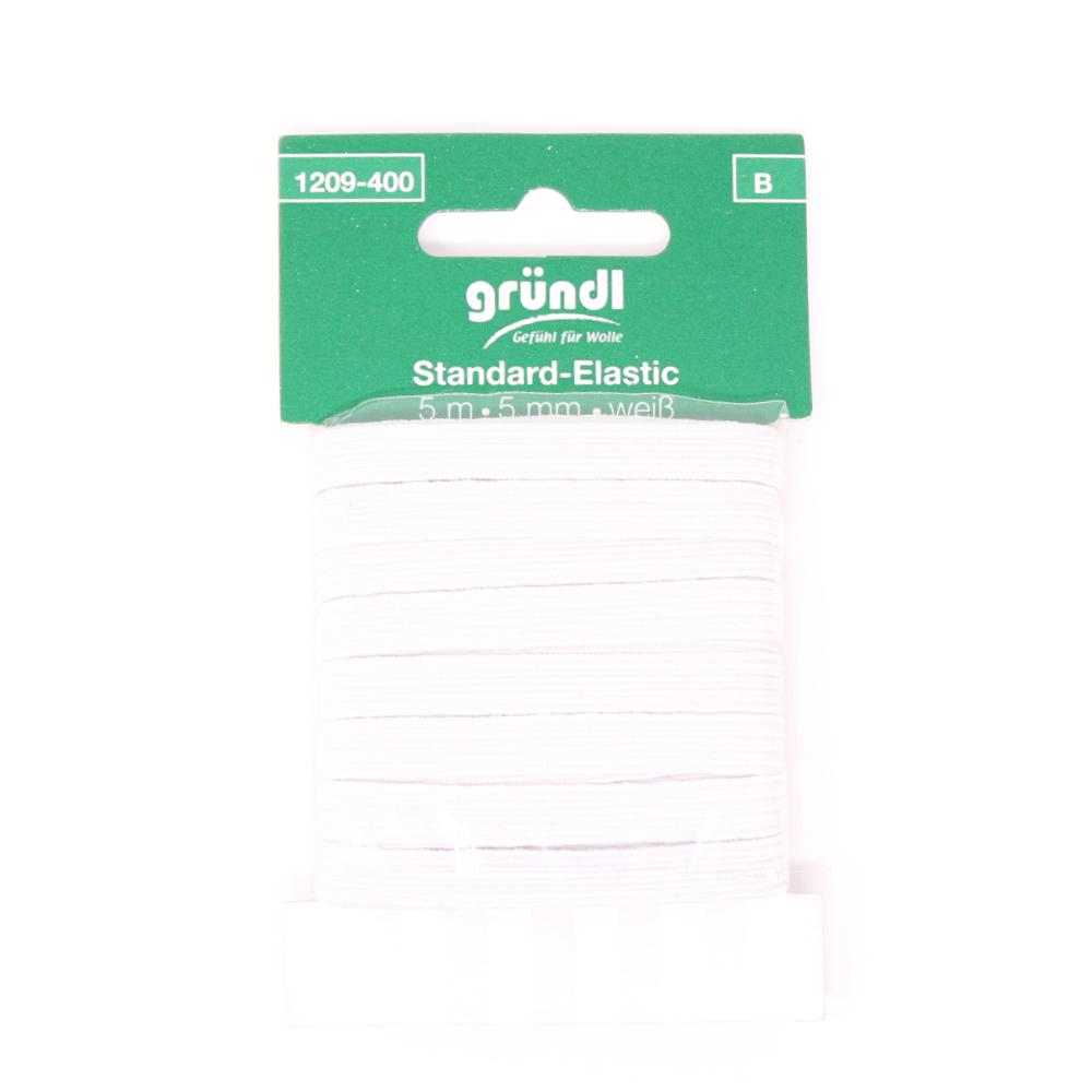 GRÜNDL | Standard Elastik mit 5mm Breite und 5m Länge in Weiß