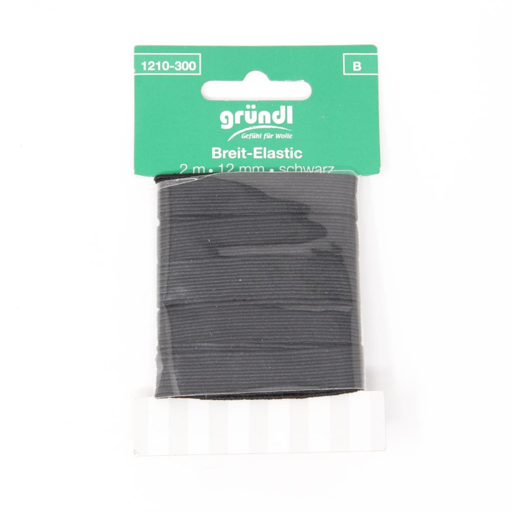 GRÜNDL | Standard Elastik mit 12mm Breite und 2m Länge in Schwarz