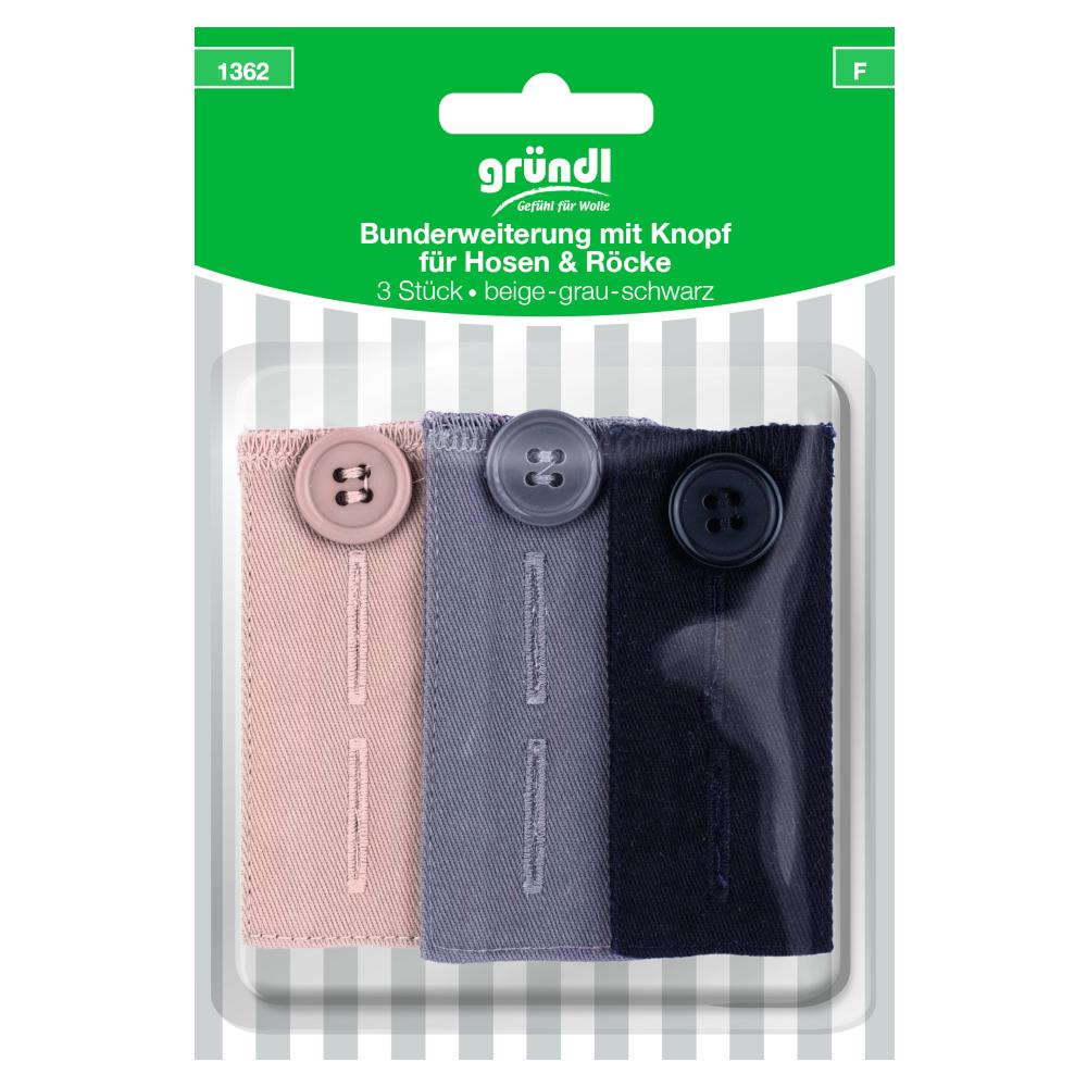 GRÜNDL | Bunderweiterung für Hosen und Röcke mit Knopf