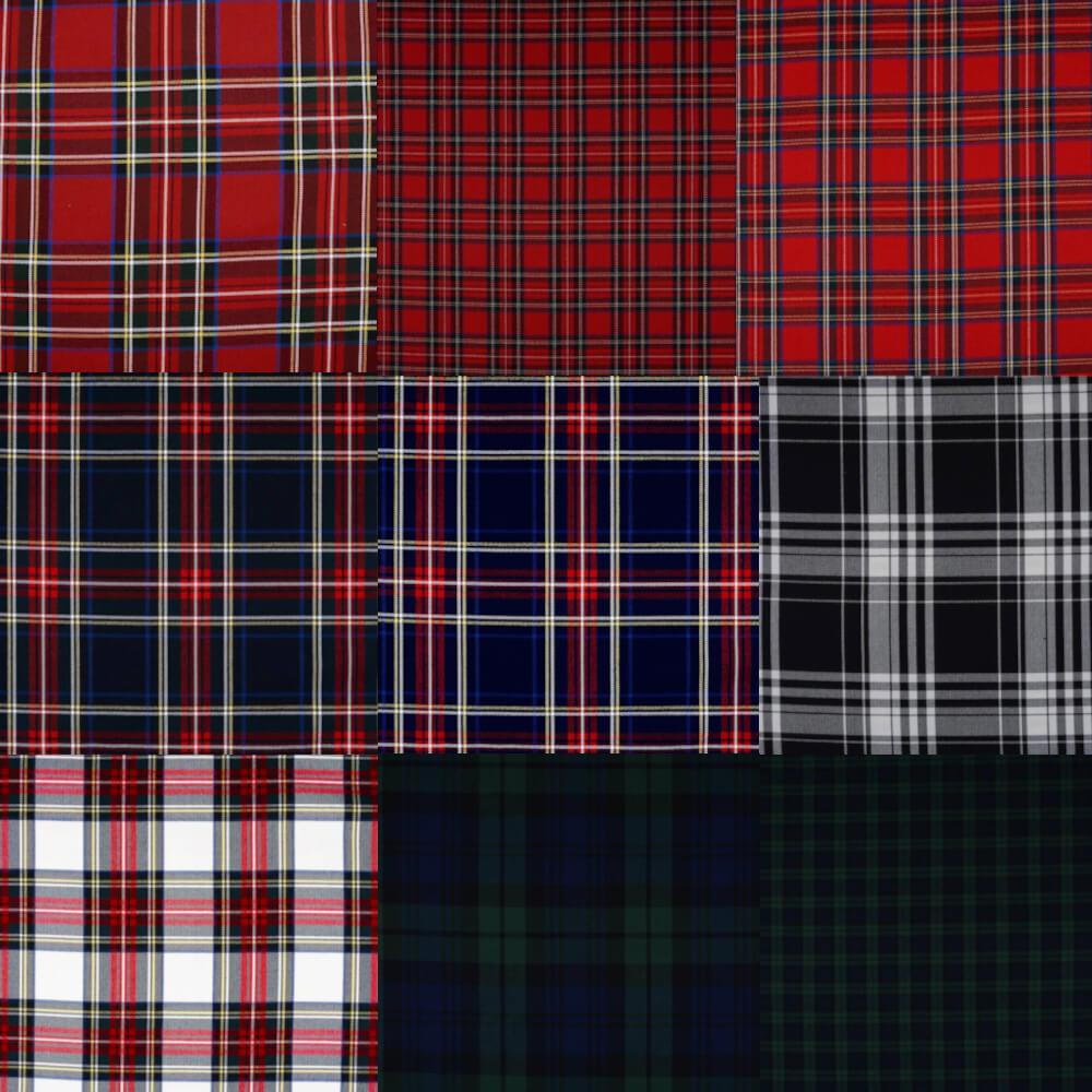 1m   Schottischer Tartan Stretch-Stoff, 145 cm breit in verschiedenen Muster-Farben